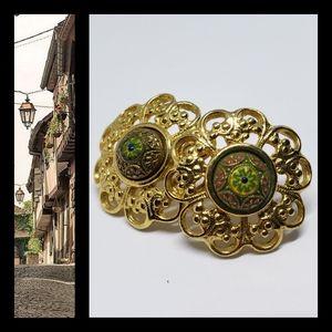 Vintage Enamel Gold Clad Earrings
